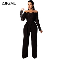 Lace Embroidery Patchwork Wide Leg Jumpsuit Women Slash Neck Long Sleeve Party Bodysuit Elegant Sashes Mesh See Through Rompers