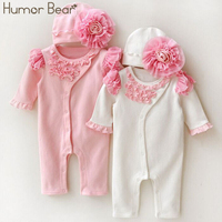 Humor Bear Christmas Newborn Baby Girl Clothes Girls Lace Rompers Hats 2PCS Baby Clothing Sets Infant