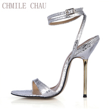 New Women Sandals Sexy CD Big Sizes High Heels Snake Ankle Strap Buckle Open Toe Thin Iron Heel Party Lady Heeled Shoes 3845-i10 недорго, оригинальная цена