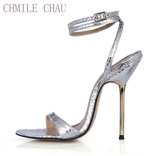 1f8fdace981 CHMILE CHAU Snakeskin Sexy Party Shoes Women Stiletto High Heels Ankle  Strap Ladies Sandals Zapatos Mujer Plus Sizes 9 3845-i10