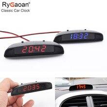 RyGaoan классический автомобиль часы 12 в подкладке 3 в 1 цифровой термометр и Напряжение монитор lcd-дисплей