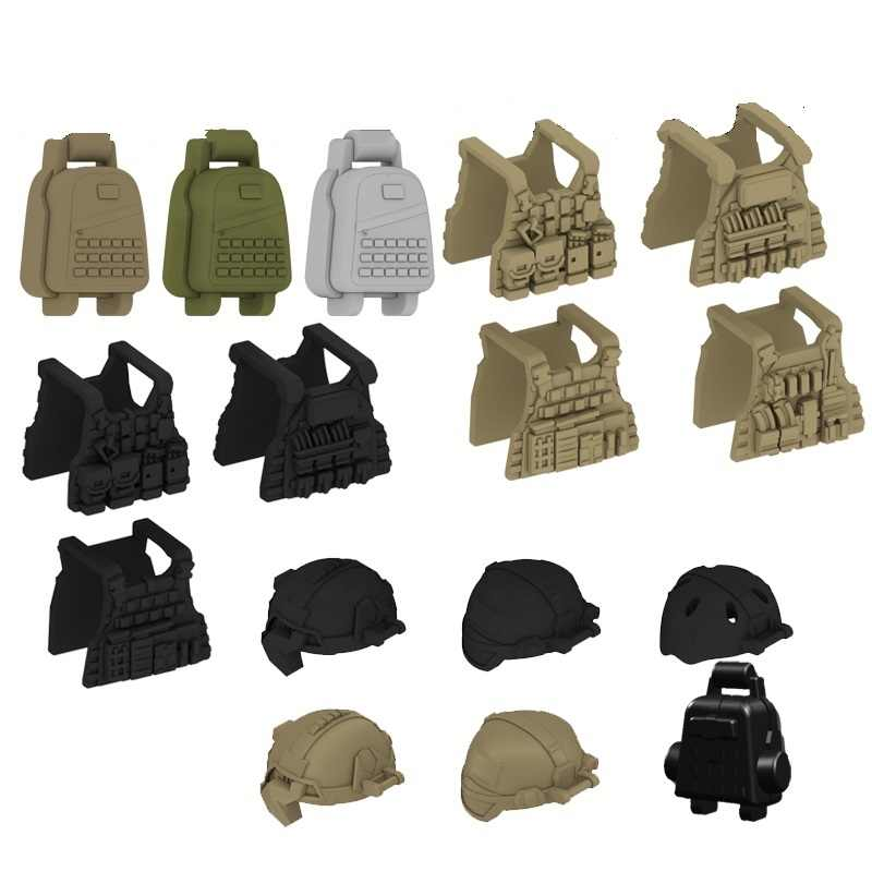 Modern Military Vest Backpack Helmet Gun Mini Figures Weapons Parts Accessories Playmobil City Bricks Building Block Toys