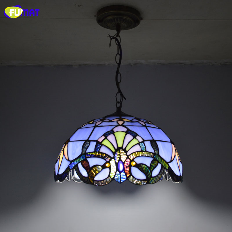 FUMAT Tiffany Pendant Light Baroque Style Hanging Lamp 12 Inch Stained Glass Suspended Luminaire E27 Living Room Kitchen Lights tiffany suspension lamp art stained glass rose lamp living room restaurant european style tiffany pendant lights