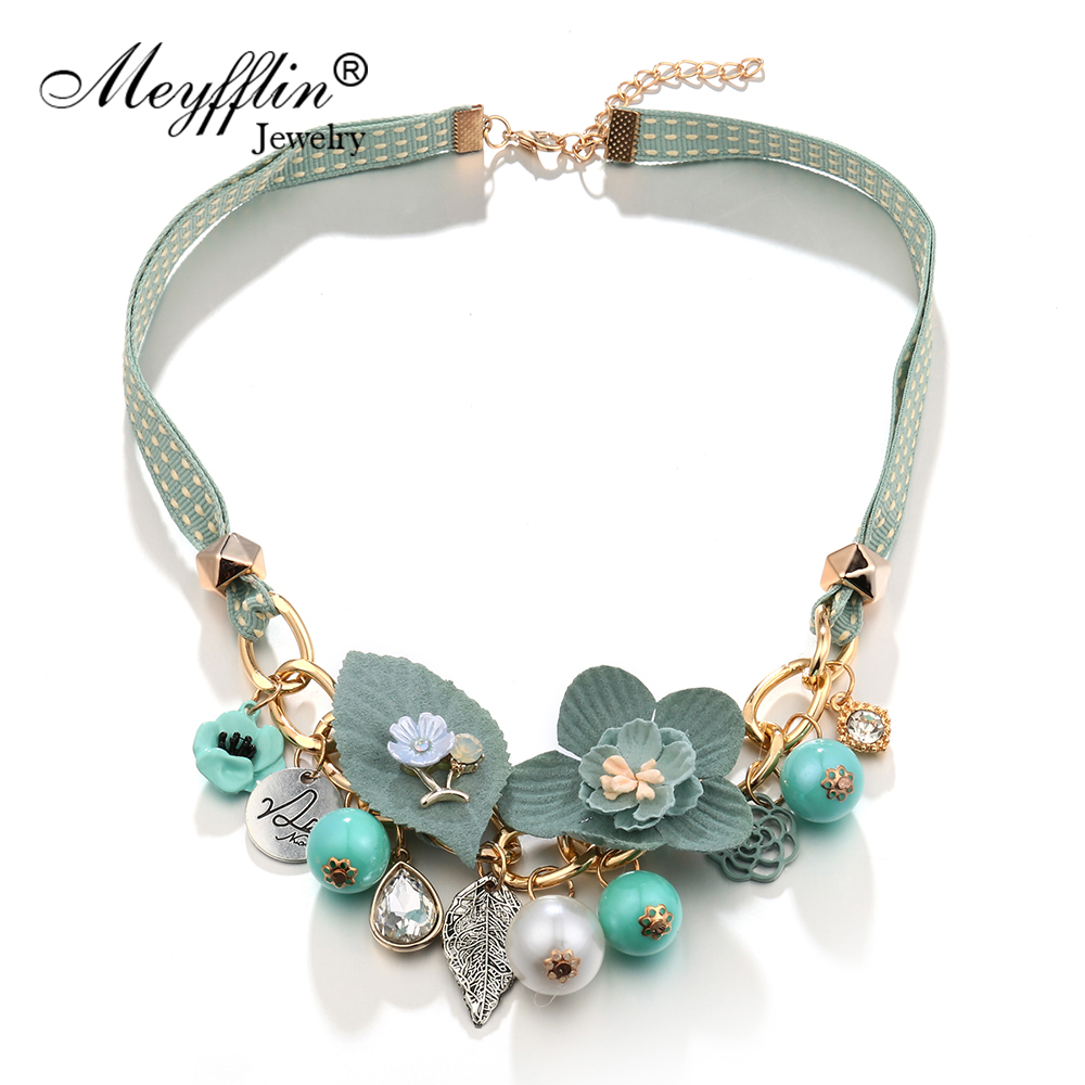 Chariot Trading Natural Stone Statement Necklace collier femme Quartz turquoise