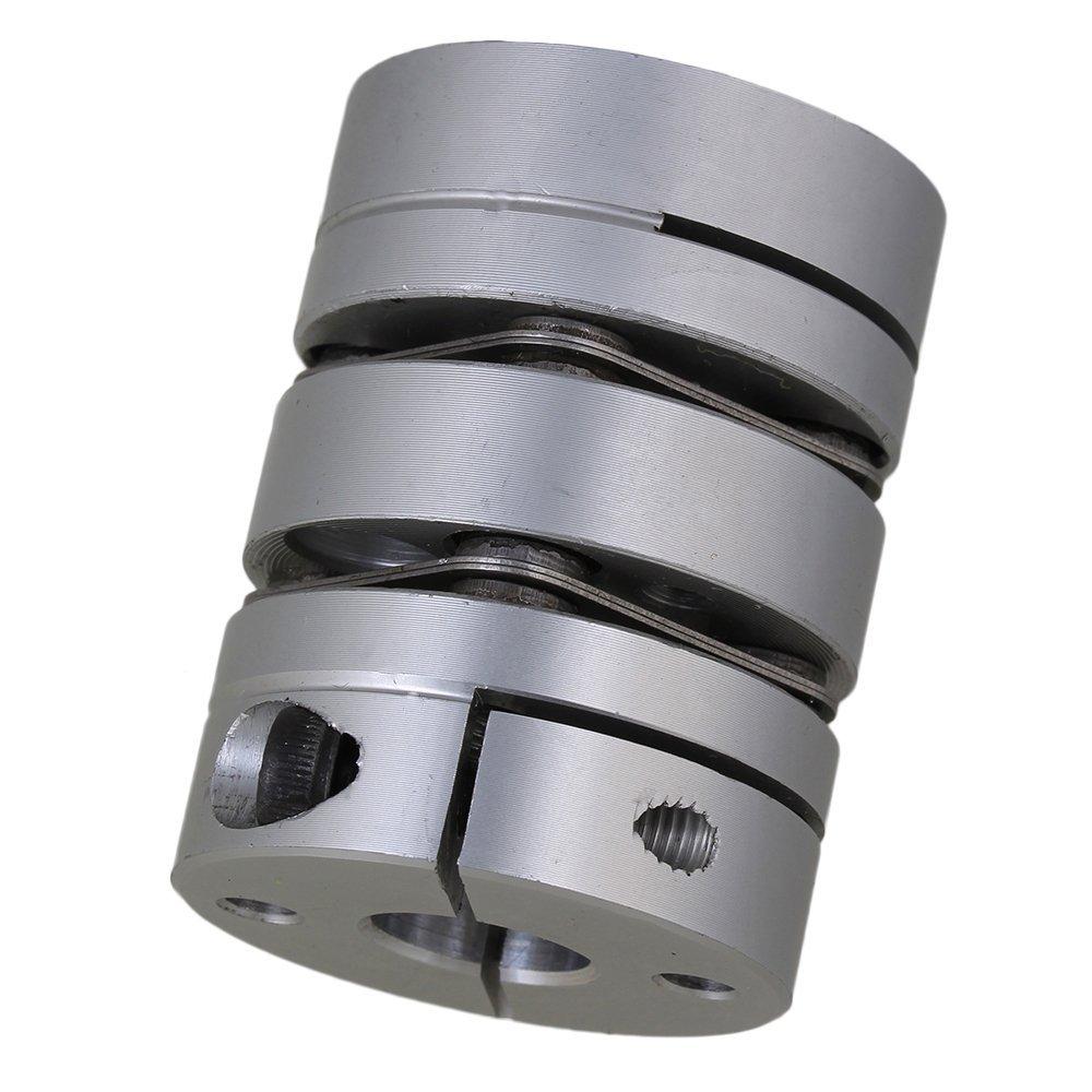 Silver Dual Diaphragm Coupling Joint 6.35x10mm Bore Motor Shaft Aluminum Alloy 2pcs diametre 30mm shaft diameter5 14 dual diaphragm couplings ball screw cnc coupling shaft connector servo motor coupling