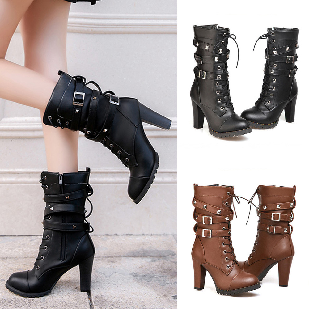 shoes Boots Women Ladies Classics Rivet Belt High Heels Mid-Calf Boots Shoes Martin Motorcycle Zip boots women 2018Oct31 7