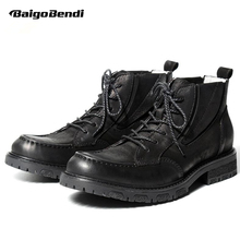 Retro Men Boots Genuine Leather Round Toe Lace Up Black Martin Boots Soliders Ridding Boots Business Man Winter Shoes Oxfords цены онлайн