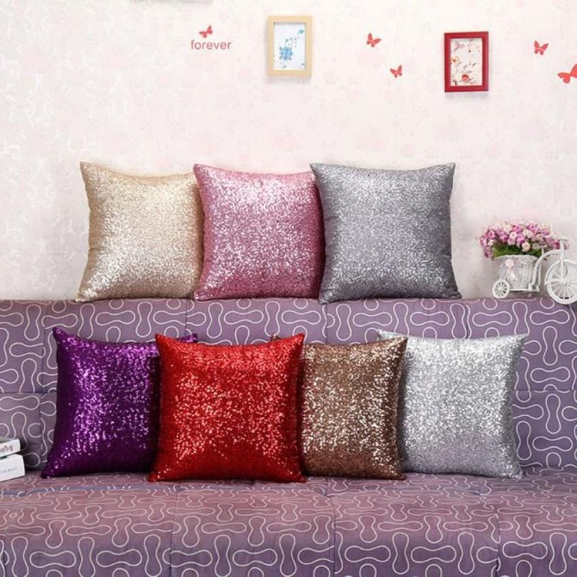 fashion 4040cm solid color glitter sequin throw pillow case cafe cushion covers car seat - Decorative Pillows Cheap