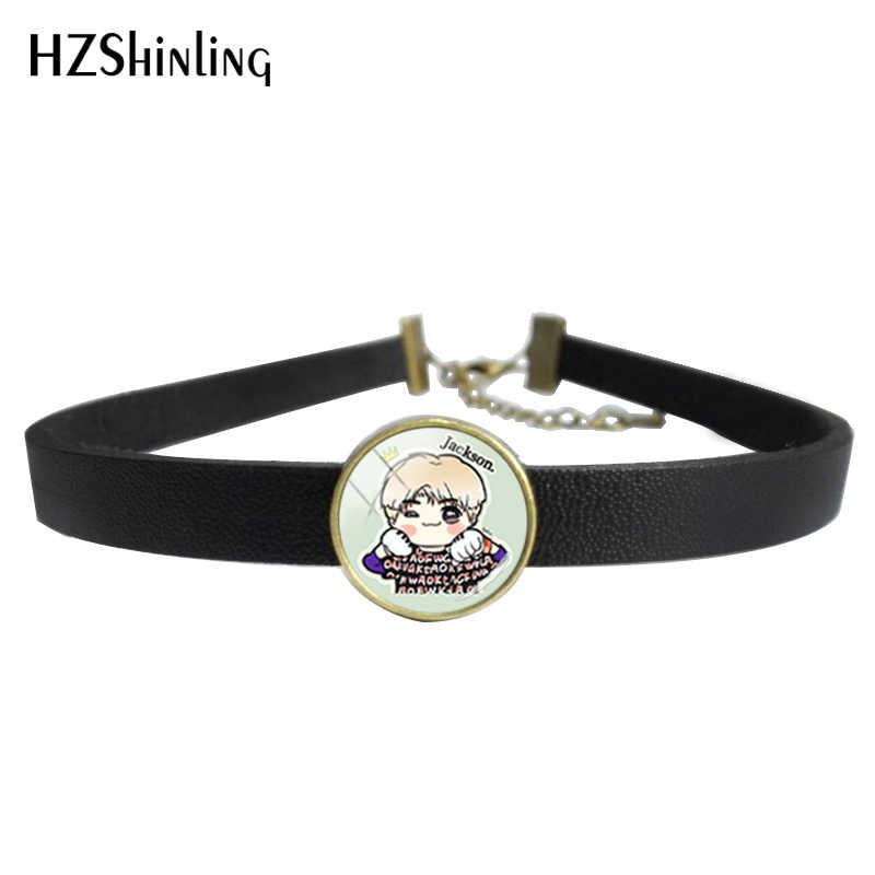 2018 nouveau GOT7 collier ras du cou avec pendentif corée POP Star en cuir collier ras du cou pour les femmes