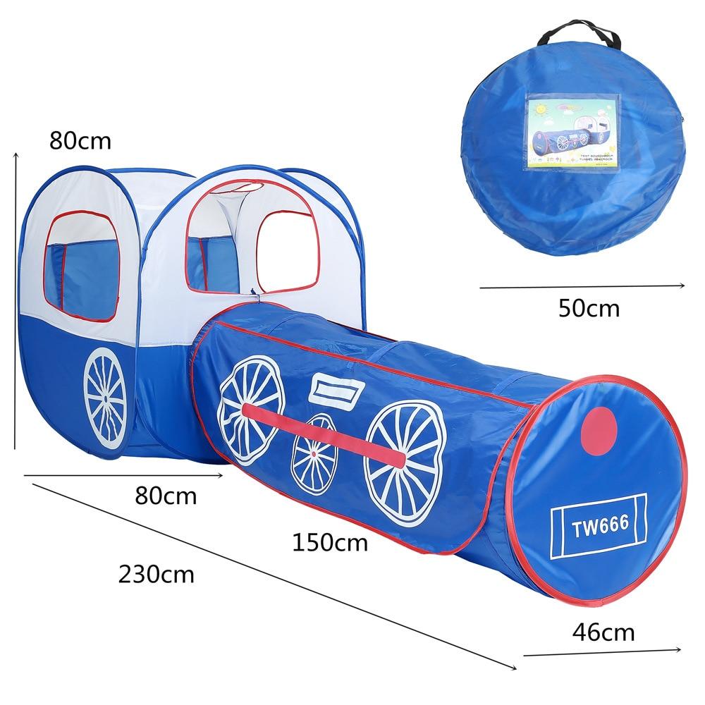 Jouets portables 2 en 1 bleu Locomotive tente enfants jeu maison Tunnel océan balle Pit jouet pliable jouet tentes pour enfant