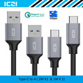 USB C to USB 3.0 Braided Nylon Cable 2 Pack 2M 1M USB 3.0 Type C Cable for Macbook Chromebook Pixel Nexus 6P and More--ICZI