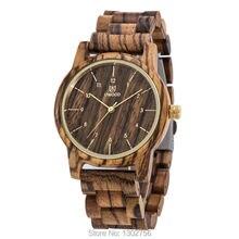 Nueva Llegada del Color del Café Zebra Wood Reloj De Los Hombres y mujeres Top de Lujo Regalo de la Sandalia de Madera MIYOTA Movimiento de Cuarzo Analógico reloj de pulsera