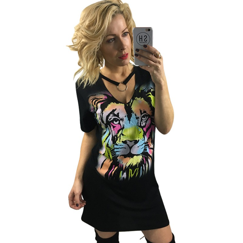 Summer Women Vneck Short Sleeves Colorful Tiger Printed Pattern High Waist Casual Mini Black Dress