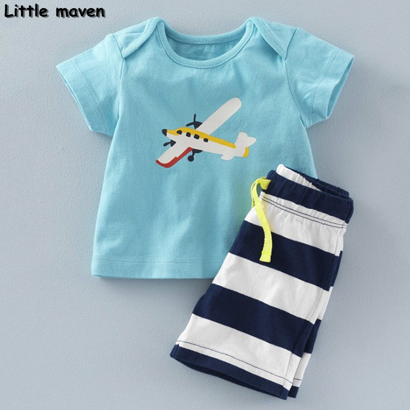 Little maven brand children clothing 2018 new summer baby boy clothes cotton plane print children's sets 20082