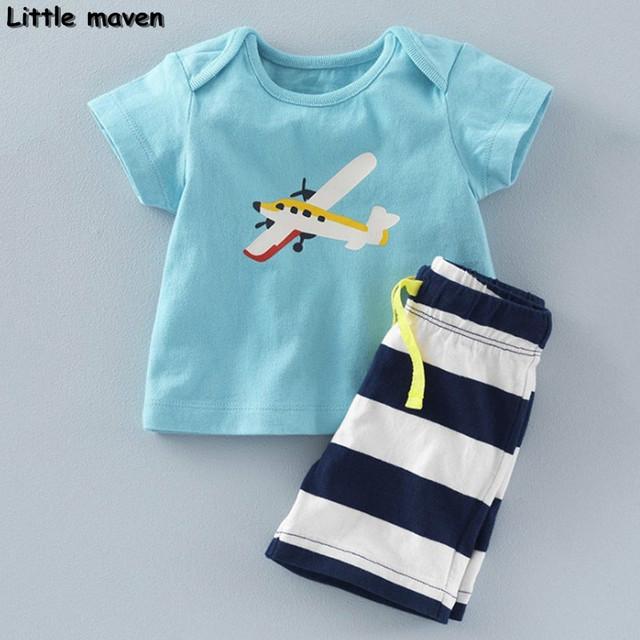 Little maven marca roupa das crianças verão 2017 nova baby boy roupa das crianças conjuntos de algodão avião impressão 20082