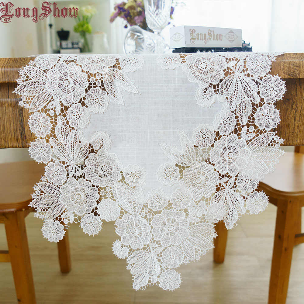 Creative Luxury Weding Party Decorative Embroidered Lace Trim White Color Polyester Table Runner
