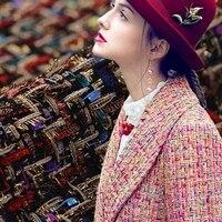 2色2017新しいホット販売春シニア混紡糸染めツイード織り生地用コートドレスtissu auメーター明るい布diy