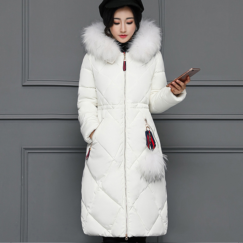 2017 New Women Winter Long Duck Down jacket Female Parkas Thickening Warm Clothes Fur Collar Slim Plus Size