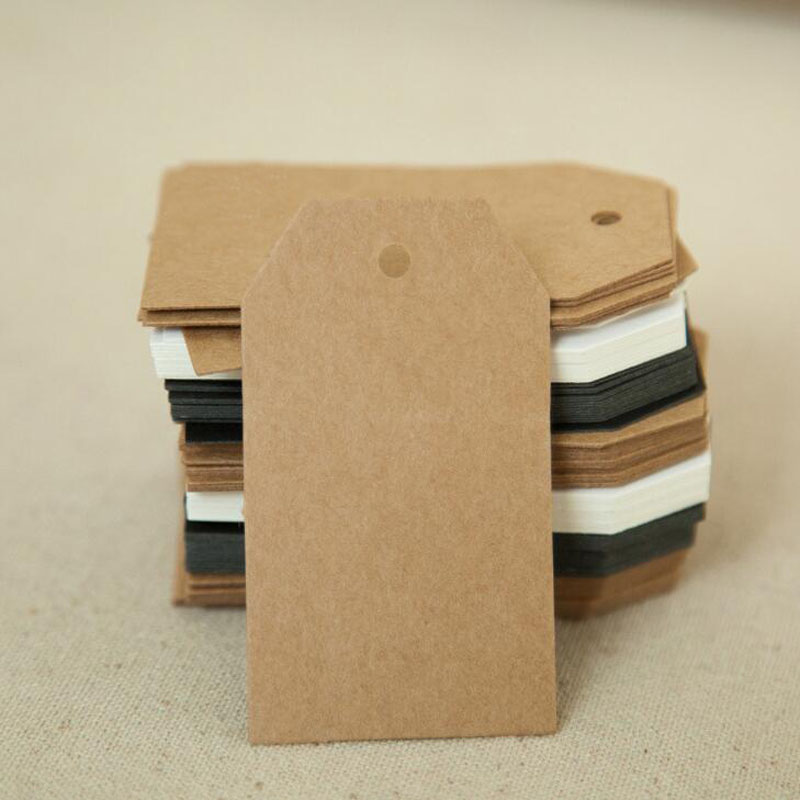 100Pcs DIY Kraft Paper Tags Pointed Head Label Luggage Christmas Wedding Party Decor Note Blank price Hang tag Kraft Gift 7x4cm