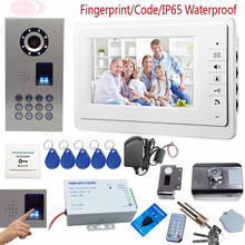 Sunflowervdp Fingerprint/Code Video Intercom System For Apartments With Rfid Electronic Lock IP65 Waterproof CCD Doorbell Camera