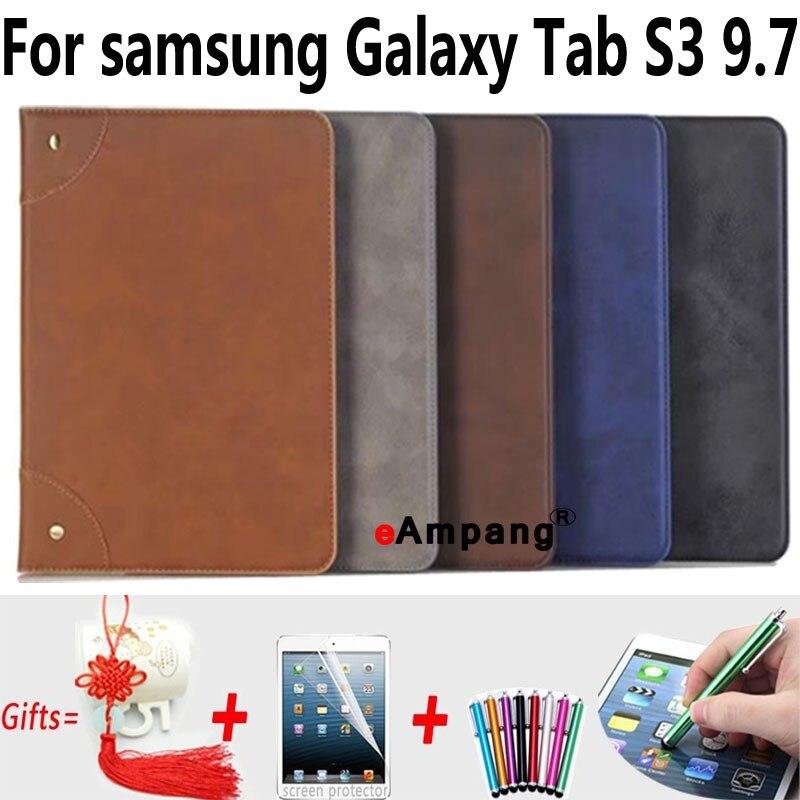 For Samsung Galaxy Tab s3 9.7 Case T820 T825 Leather Retro Tablet Bag Fundas Coque For Samsung Tab S3 9.7 Cases Cover Stand cartoon owl for samsung galaxy tab 3 10 1 inch p5200 p5220 p5210 cases pu leather tablet cover case skin shell fundas coque