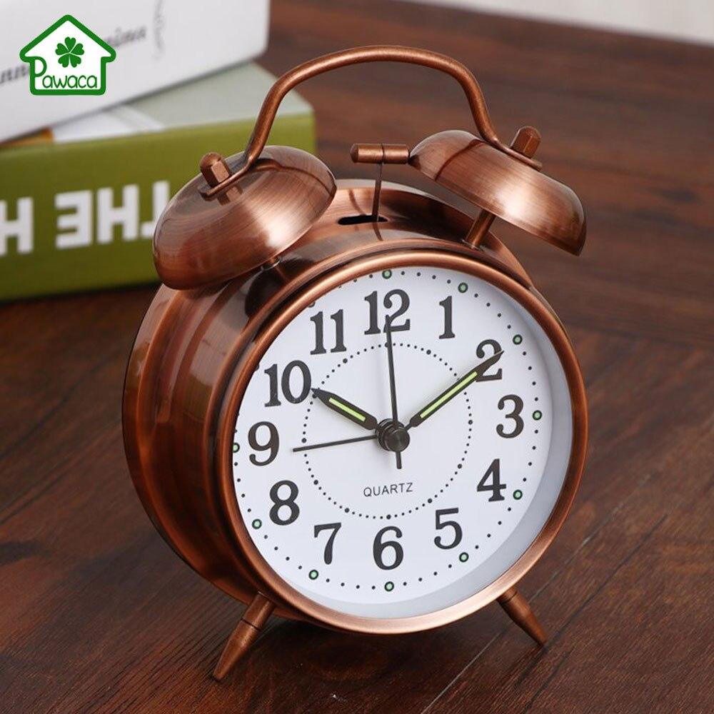 Retro Double Bells Ringing Alarm Clocks Vintage Round Metal Mechanical Needle Alarm Clock Bedside Desktop Clock for Home Decor
