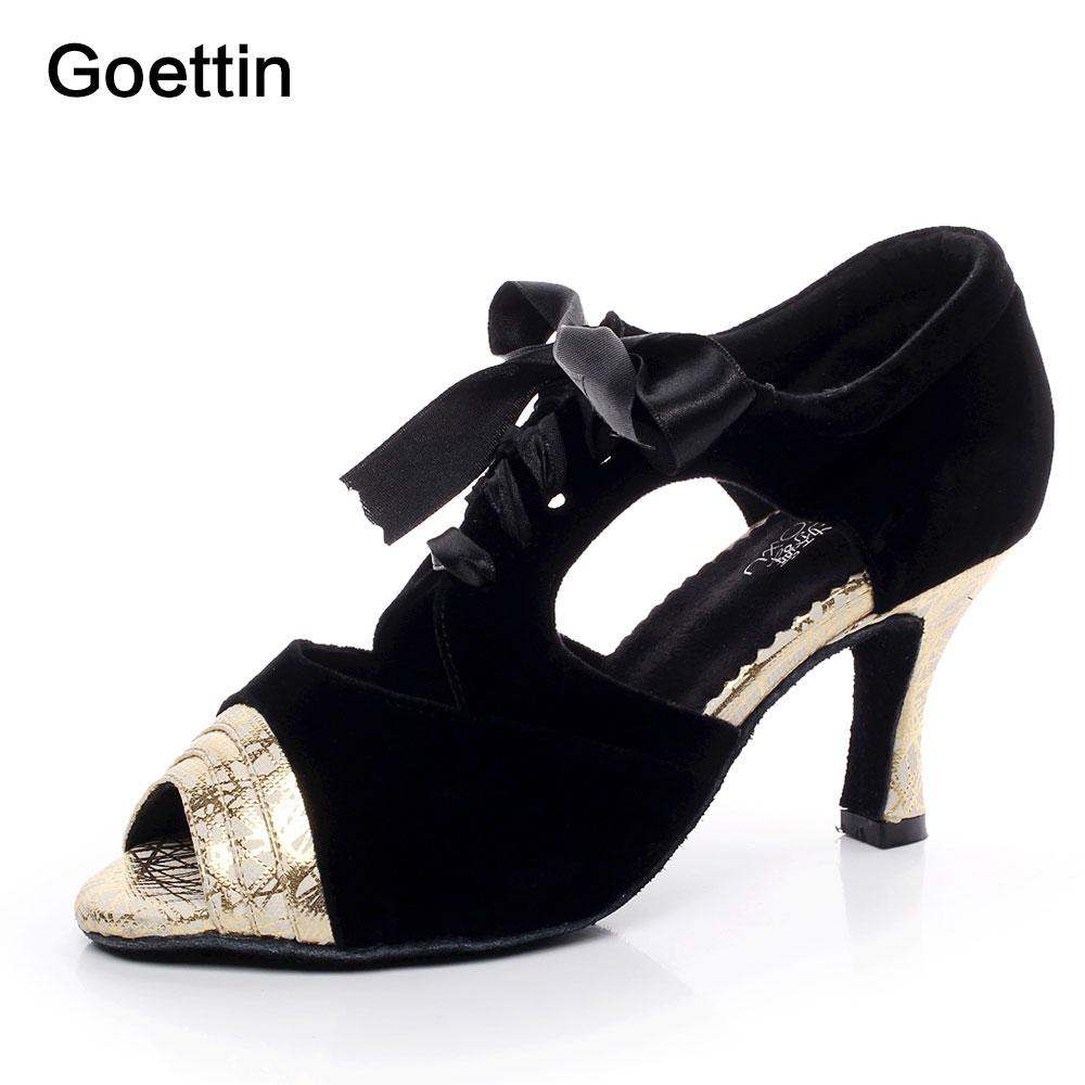 Goettin Brand 7059 Sølv Guld Kvinder Latin Sko Ballroom Dancing Shoes