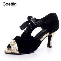Goettin Brand 7059 Silver Gold Women Latin Shoes Ballroom Dancing Shoes