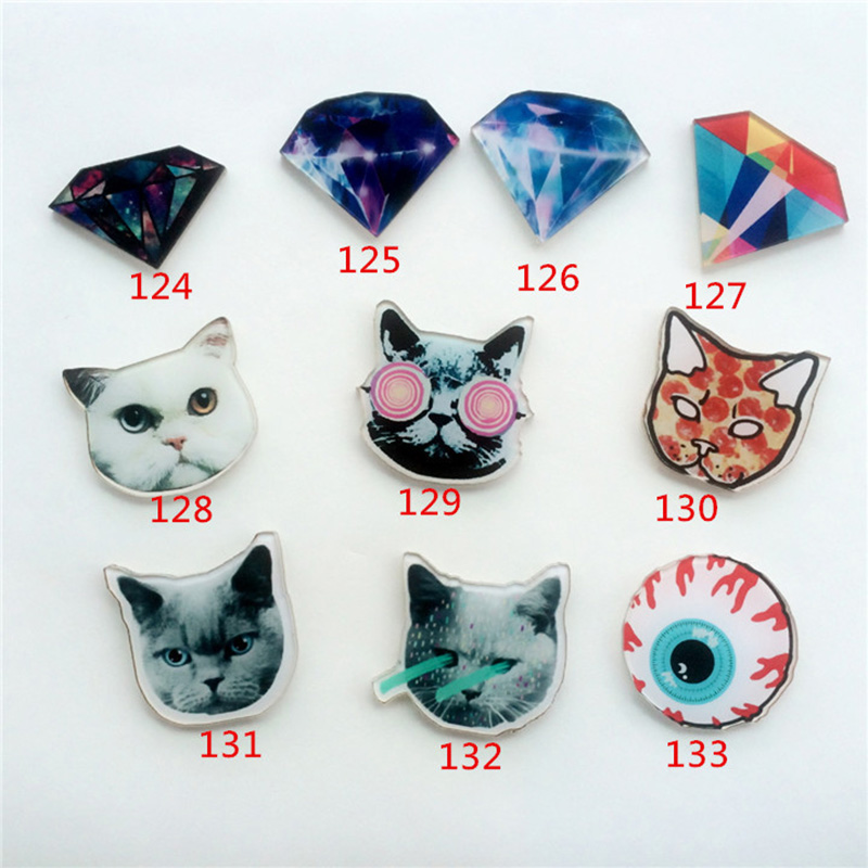 Acrylic Badges Brooches For Clothes Bags Shoes Badge Women Men Cartoon Eyeball Black Cat Brooch Lable Pins Clothing Pin Jewelry