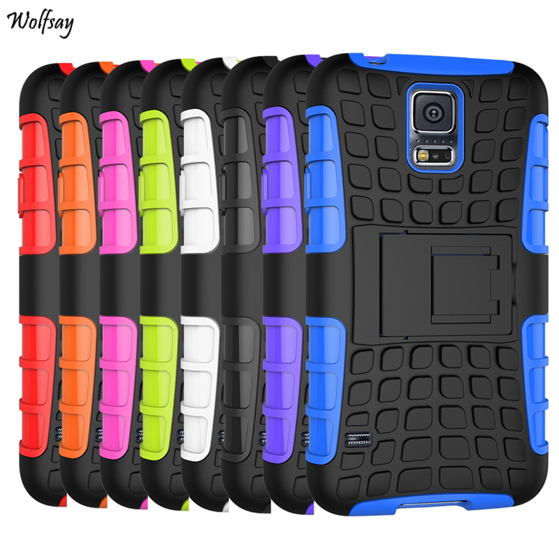 Cover For Samsung Galaxy S5 Mini Case G800 Soft Rubber & Hybrid PC Fundas Case For Samsung S5 Mini Phone Coque Holder Stand ]
