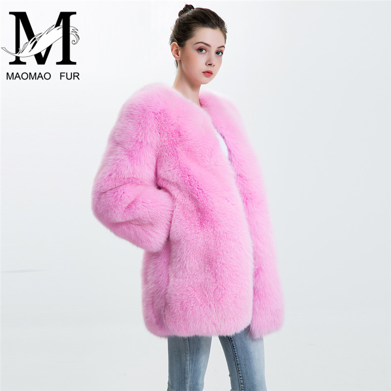Women Real Fox Fur Coat Female Winter Thick Warm Overcoat Whole Skin 2017 Genuine Fur Jacket Pink Color Natural Fox Fur Coat