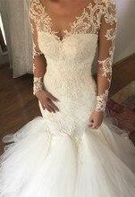 vestido de noiva sereia Appliques Lace Wedding Dresess Mermaid Style Modest Long Sleeve Bride Dress Button Back