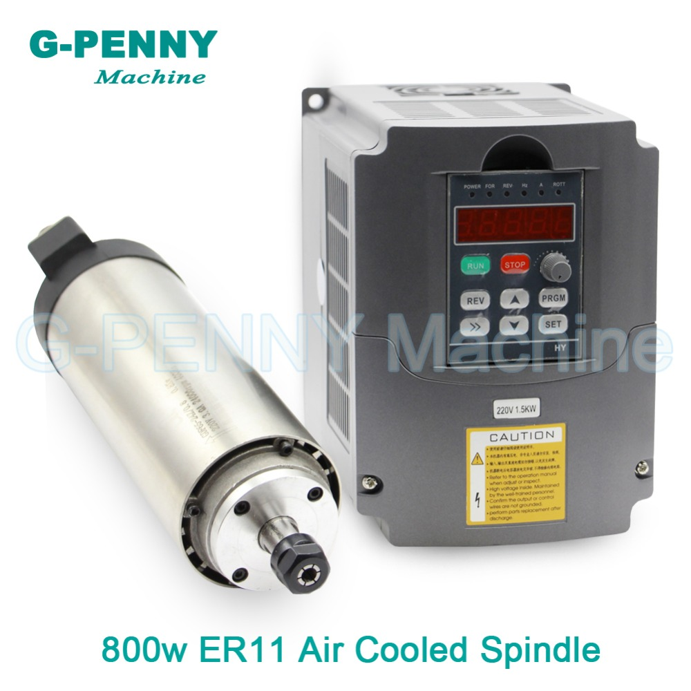 Sale ! 220V 800W ER11 CNC Air Cooled Spindle Motor 65mm DIY Air Cooling 4 Bearings CNC Motor Spindle & 1.5kw VFD inverter driver water cooling spindle sets 1pcs 0 8kw er11 220v spindle motor and matching 800w inverter inverter and 65mmmount bracket clamp