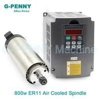 Sale ! 220V 800W ER11 CNC Air Cooled Spindle Motor 65mm DIY Air Cooling 4 Bearings CNC Motor Spindle & 1.5kw VFD inverter driver