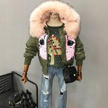 Осенне-зимней моды блестка разборка меховой воротник с капюшоном плюшевые тепловой ватные куртки верхняя одежда