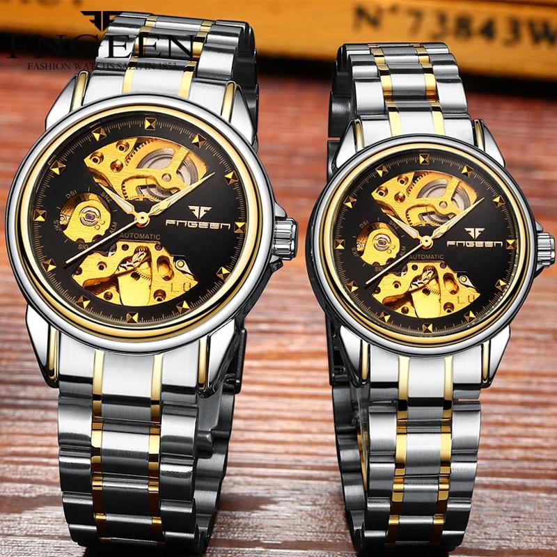 Reloj Mujer Tourbillon Skeleton Wristwatch for Women Horloge 30M Waterproof Steel Automatic Watch for Men Clock Lover's Watches