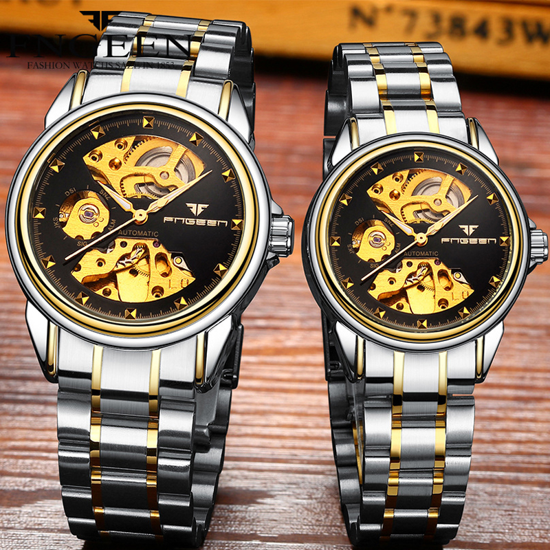 Reloj Mujer Tourbillon Skeleton Wristwatch For Women Horloge 30M Waterproof Steel Automatic Watch For Men Clock Lover's Watches