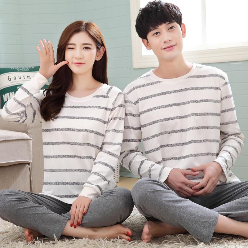 Autumn Striped Pyjamas Cotton Couple Pajamas Set Women Sleepwear Pajama Sets Pijamas Mujer Lovers Pyjamas Homewear Clothing