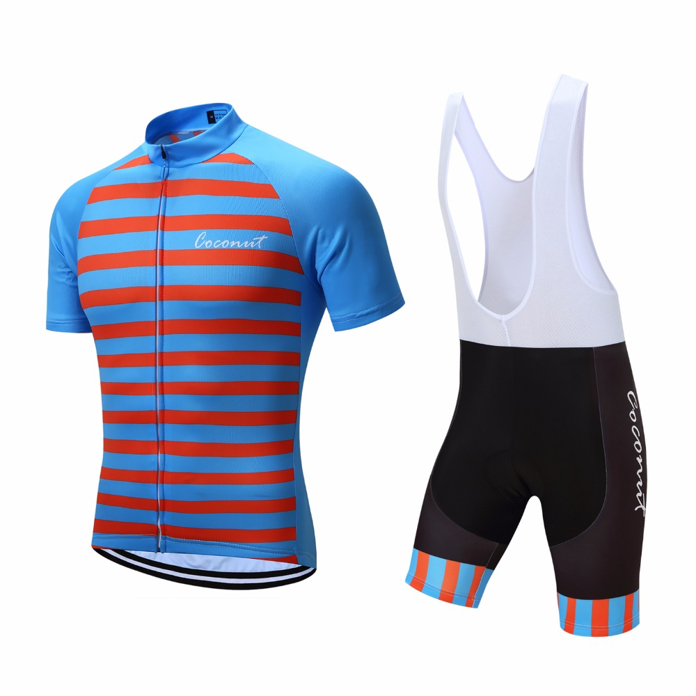 58b92194a Aliexpress.com   Buy Coconut Ropamo Men s Bicycle Cycling Jersey Set Short  Sleeve Mesh Breathable Bike Clothing Suit Pro Game Skinsuit Ropa Ciclismo  from ...