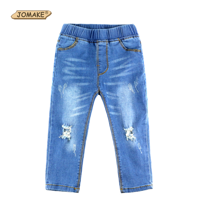 Autumn Boys And Girls Jeans Skinny Kids Pants Distrressed Baby Trousers New Arrival Kids Ripped Jeans Casual Kids Jeans