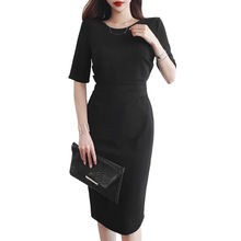 Big Size Corset OL Work Office Dress Women Casual Black Summer Pleated Bodycon Wrap 2019 Vestiti Donna