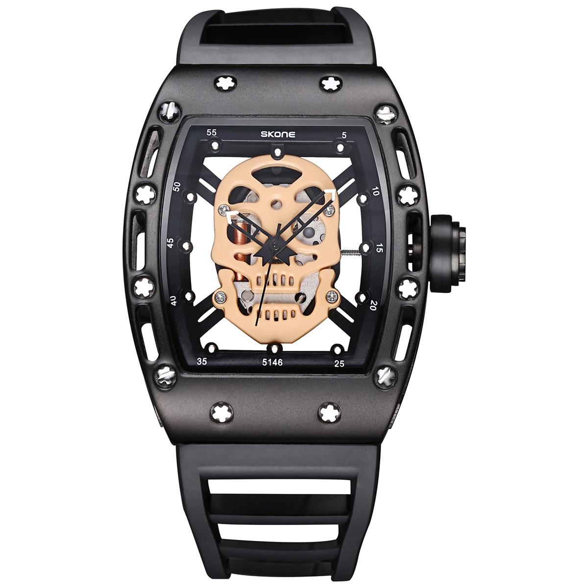 ФОТО SKONE 2017 Pirate Skull Style Quartz Men Watches Brand Men Military Silicone Men Fashion Casual Watch Waterproof