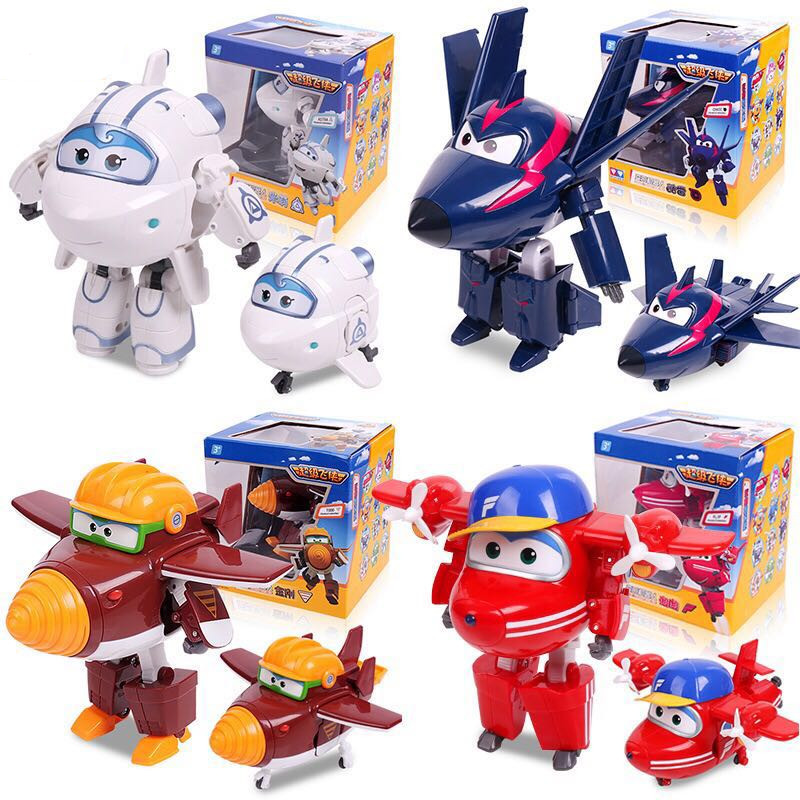 Big!!!15cm ABS Super Wings Deformation Airplane Robot Action Figures Super Wing Transformation toys for children gift Brinquedos radio-controlled car