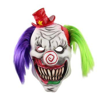 ฮาโลวีนสยองขวัญ Clown หน้ากาก Horrible น่ากลัวหน้ากากผู้ใหญ่ Latex สีแดงฮาโลวีน Clown Evil Killer Demon Clown Mask
