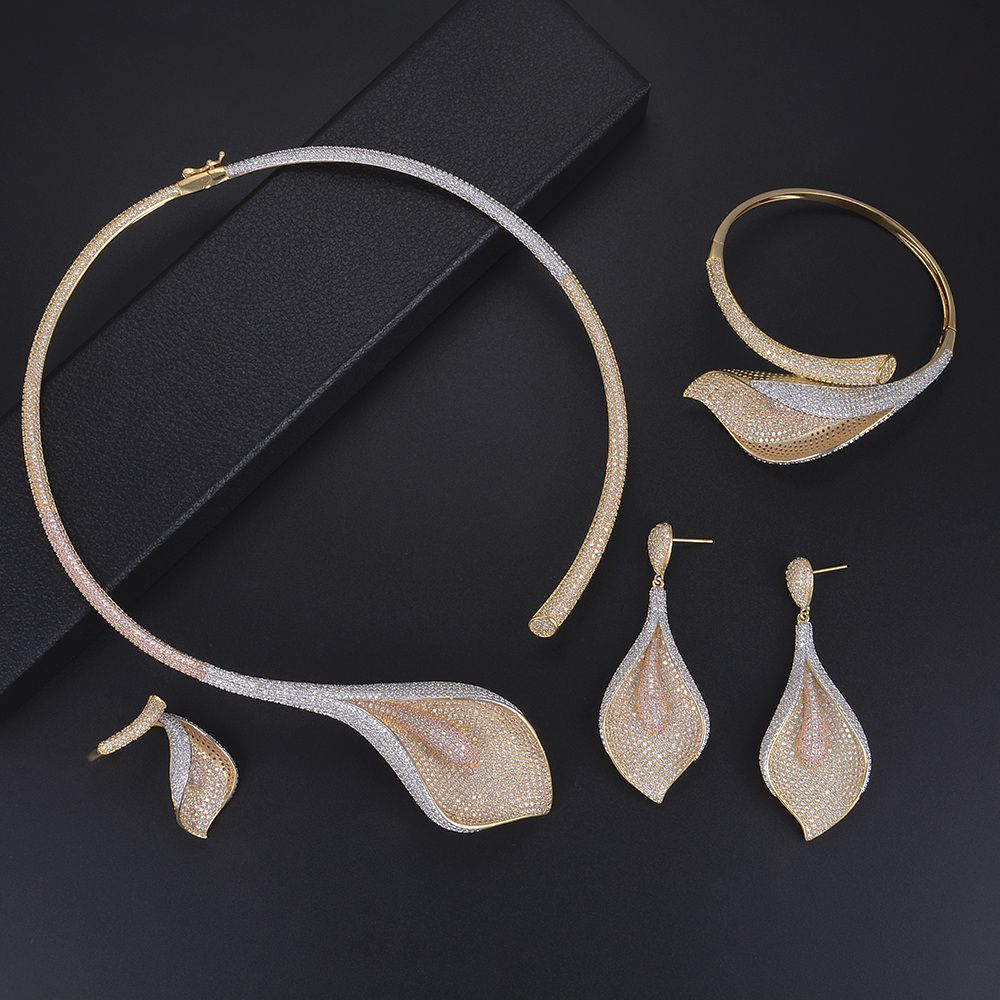 missvikki 4 PCS Luxury Wedding Jewelry Sets Necklace Bracelet Earrings Ring Jewelry Set for Women Party Accesssories Wholesale