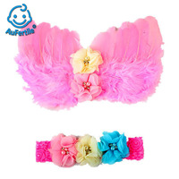 Creative Feather Wing Chiffon Beads Baby Angel Wing Set Child Take Pictures Photography Dress Up Props High Quality Fashion Cap