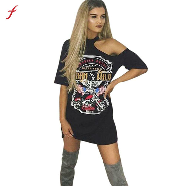 bd7d4f84 Feitong Summer Girl Print T Shirt Dress Women Vintage Off Shoulder Rock  Style Loose Tunic Dresses Casual Long Tops Vestidos 2019 .