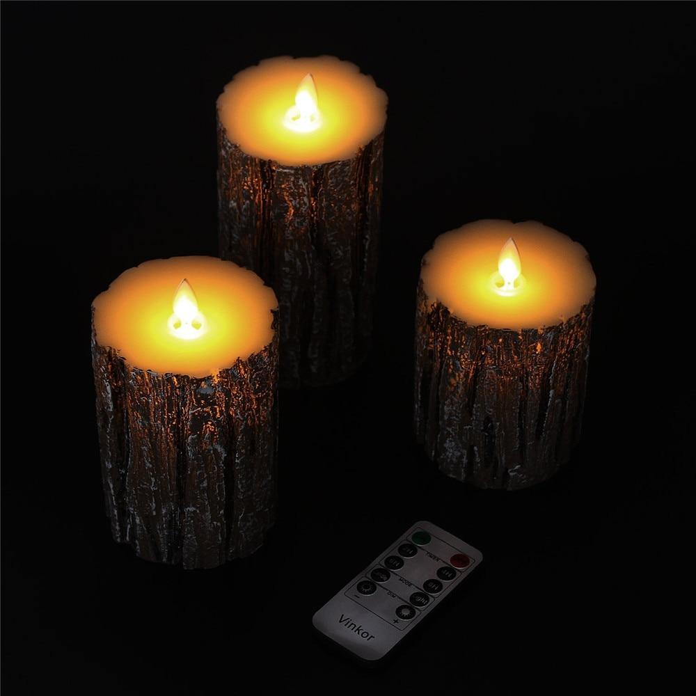 Menos Pilar decoración del hogar 3 uds luz LED tipo vela velas de batería lámpara llama Control remoto velas de cumpleaños para pastel - 6