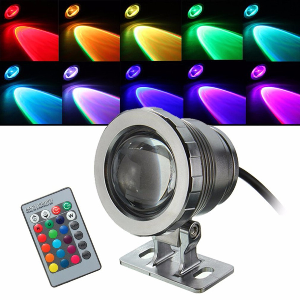 IP68 10W RGB LED Light Garden Fountain Pool Pond Spotlight Waterproof Underwater Lamp with Remote Control BlackSilver