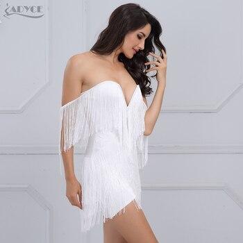 Adyce 2018 New Women Summer Bandage Dress Elegant Club Party Dress Sexy V Neck Off Shoulder Tassel Embellished Mini Fringe Dress 1